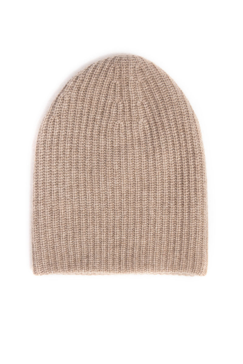 Cashmere Fat Hat Beanie in Biscuit