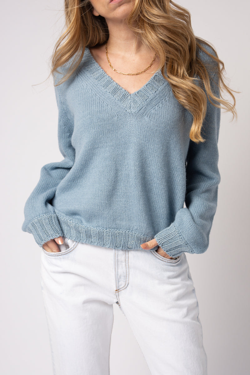 Baby Alpaca Cashmere Silk Sweater in Acqua Marina