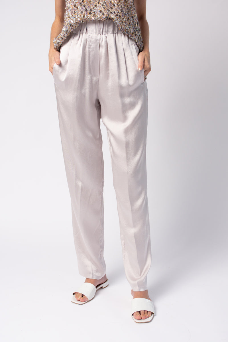 Cloquet Satin Silk Elasticized Pants in Perla
