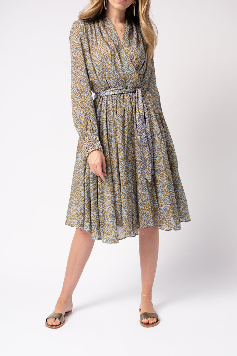 Eagle Print Cotton Silk Voile Dress