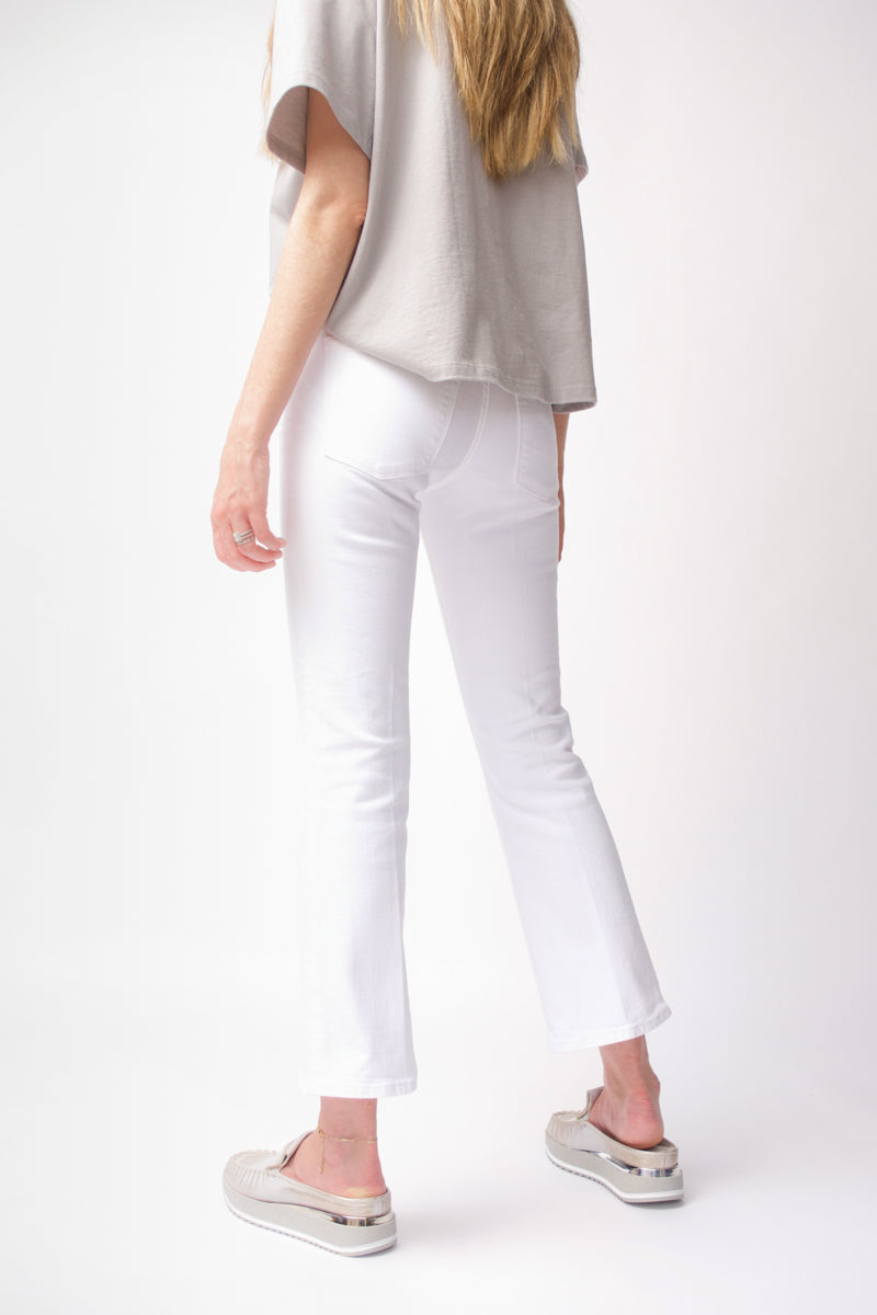 Le Crop Mini Boot Double Waistband in Blanc