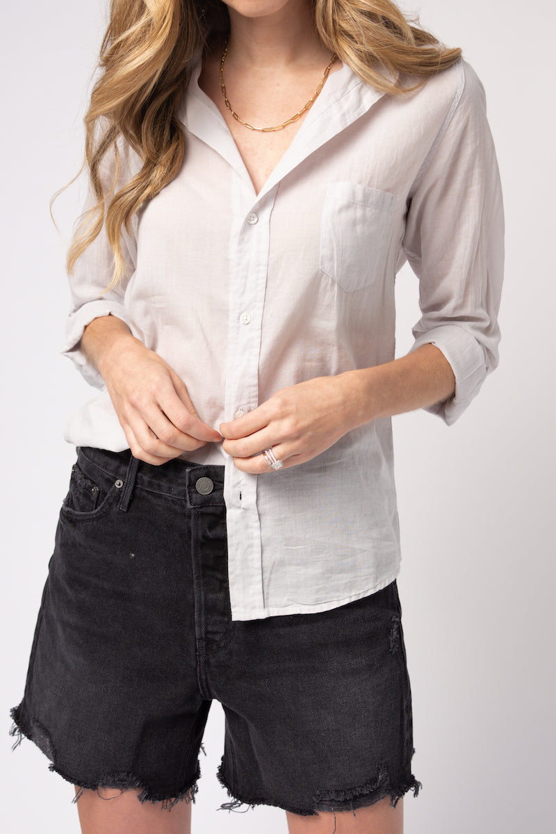 Barry Button Down Shirt in Grey Voile