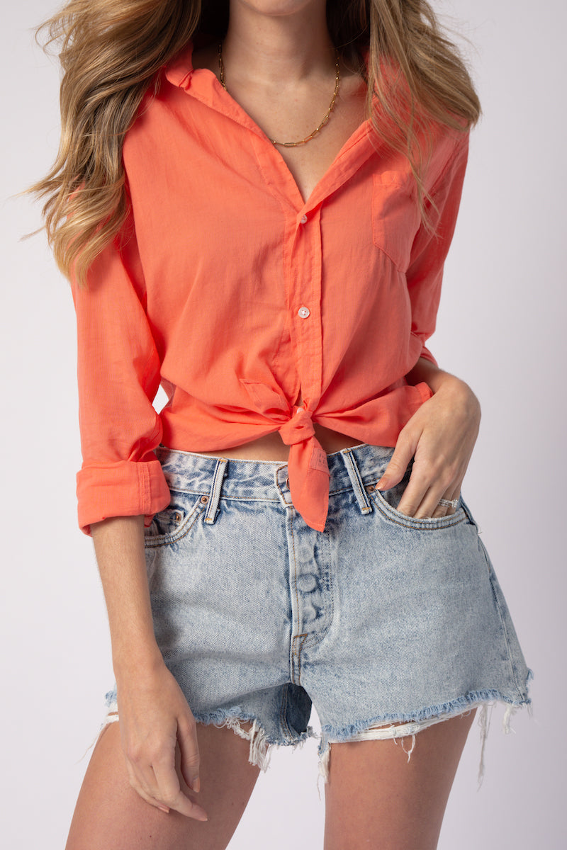 Barry Button Down Shirt in Melon Voile