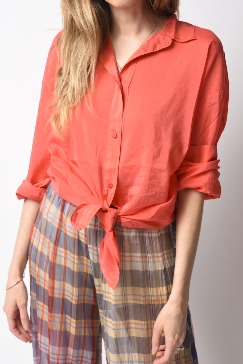 Cotton Silk Voile Shirt in Pesca