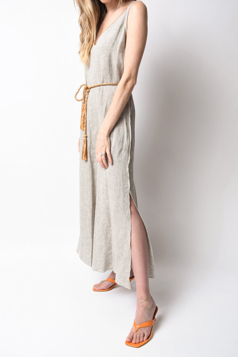 Shimmering Linen Dress with Belt in Sabbia