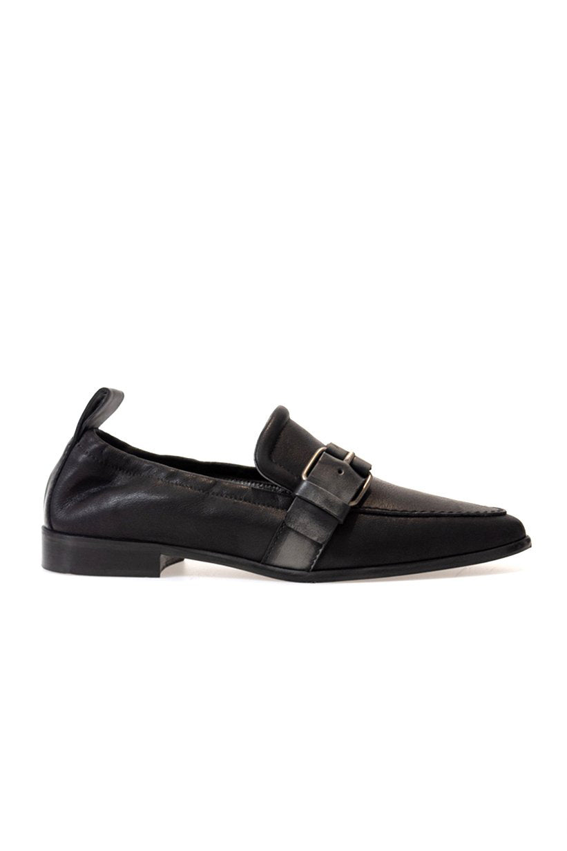 Pointed Leather Shoe in Bovine Messico Nero