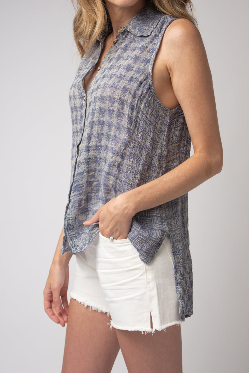 Canotta Valanza Tank Top in Blu Naturale