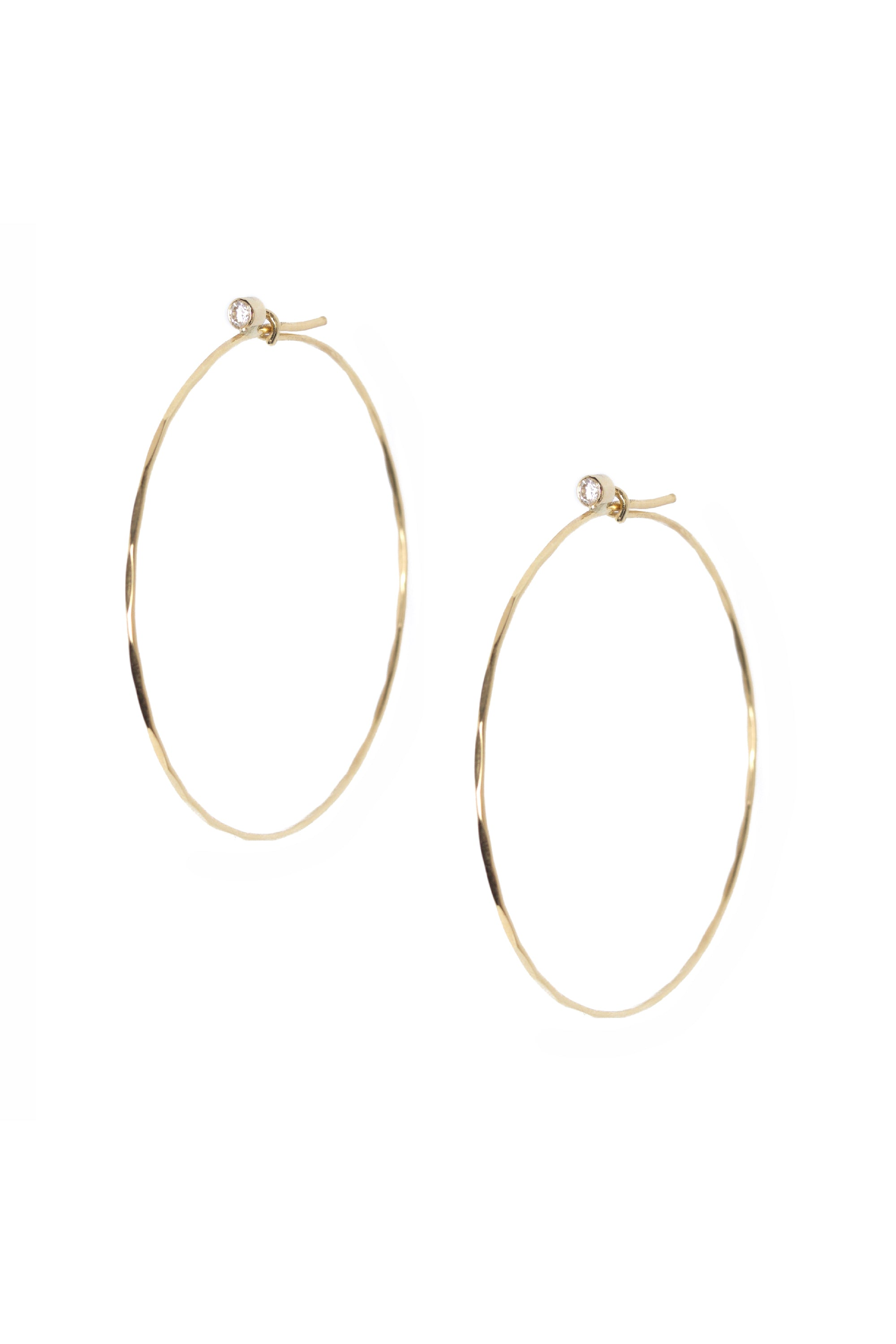 Diamond Large Jessica Hoops in Yellow Gold