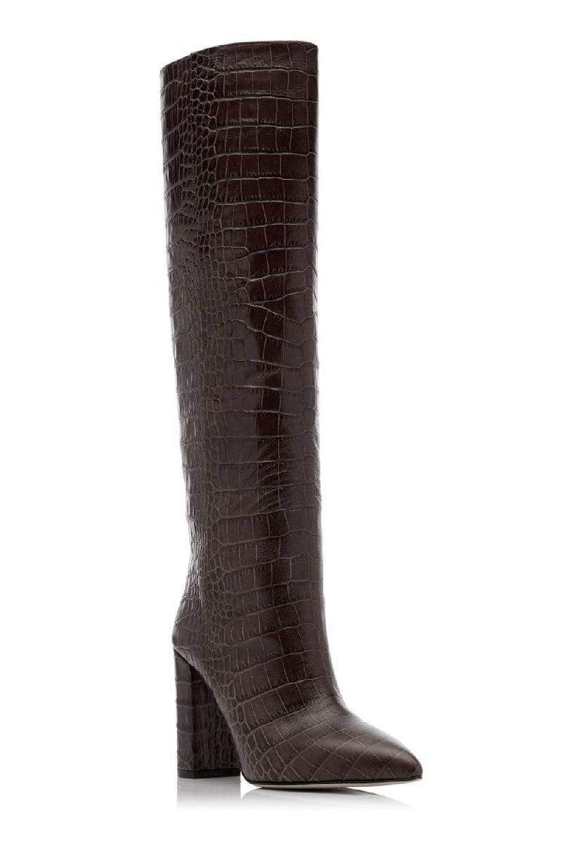 Croc-Embossed Tall Boots in Testa di Moro