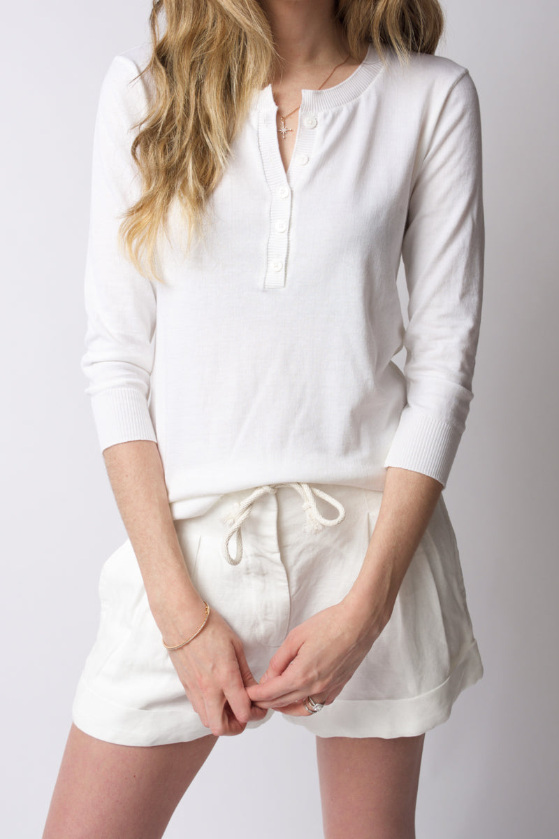 Long Sleeve Cotton Silk Henley in White