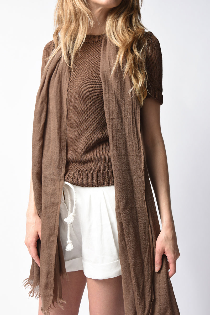 Open Cashmere Scarf in Cocoa