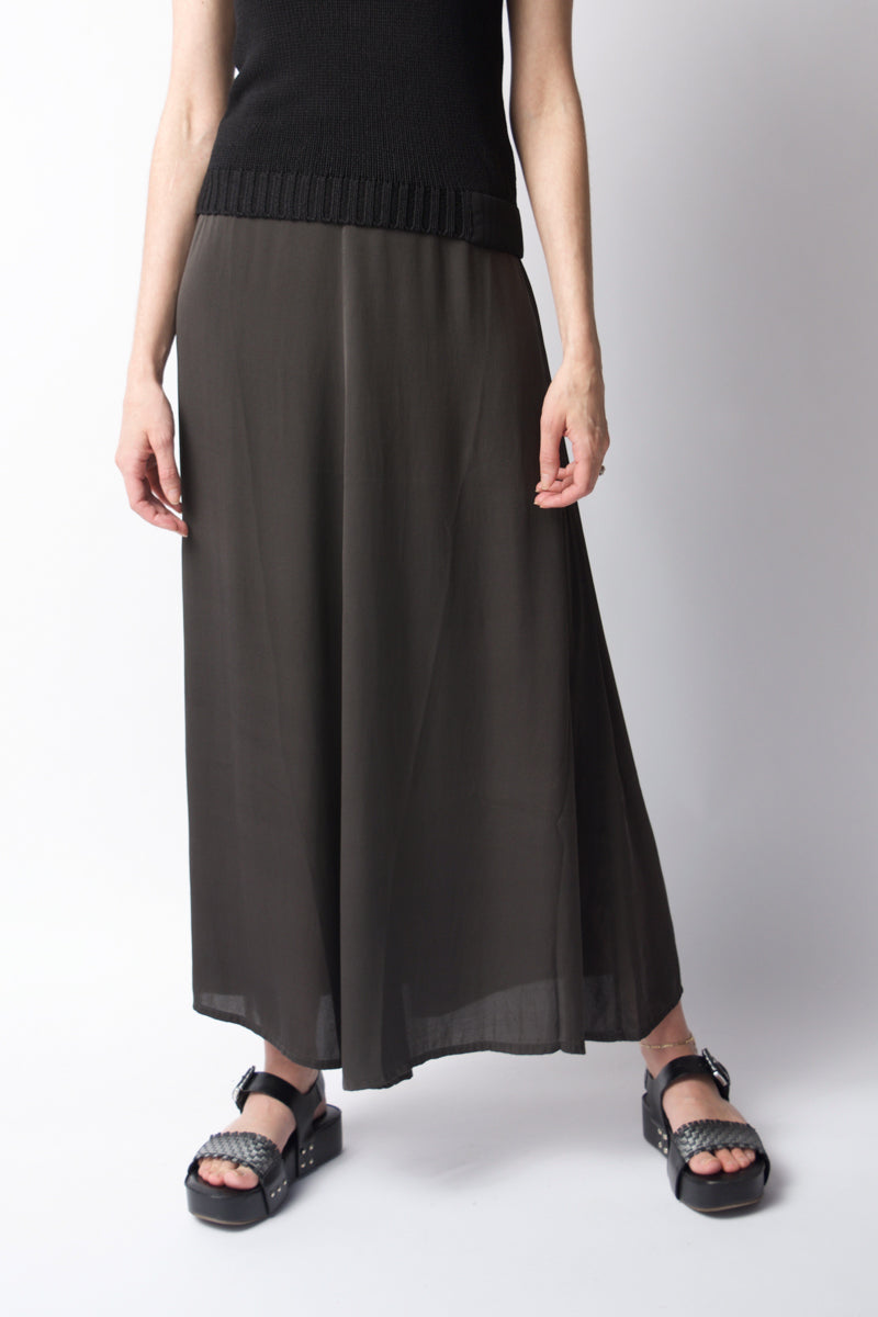 Silk Maxi Skirt in Old Steel