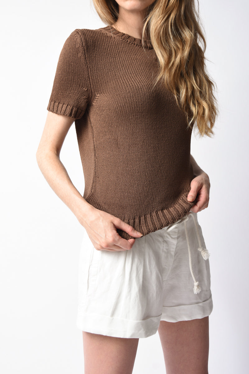 Short Sleeve Silk Crewneck Top in Cocoa