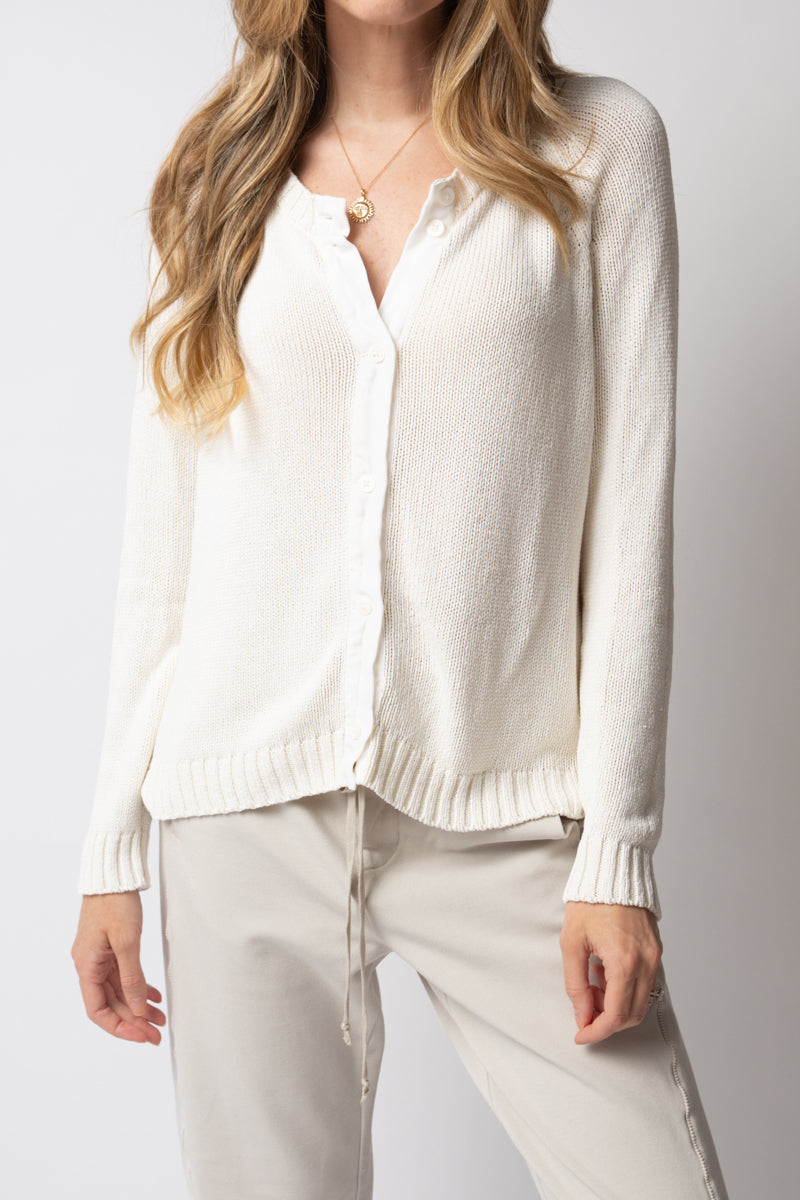 Long Sleeve Silk Cardigan in White