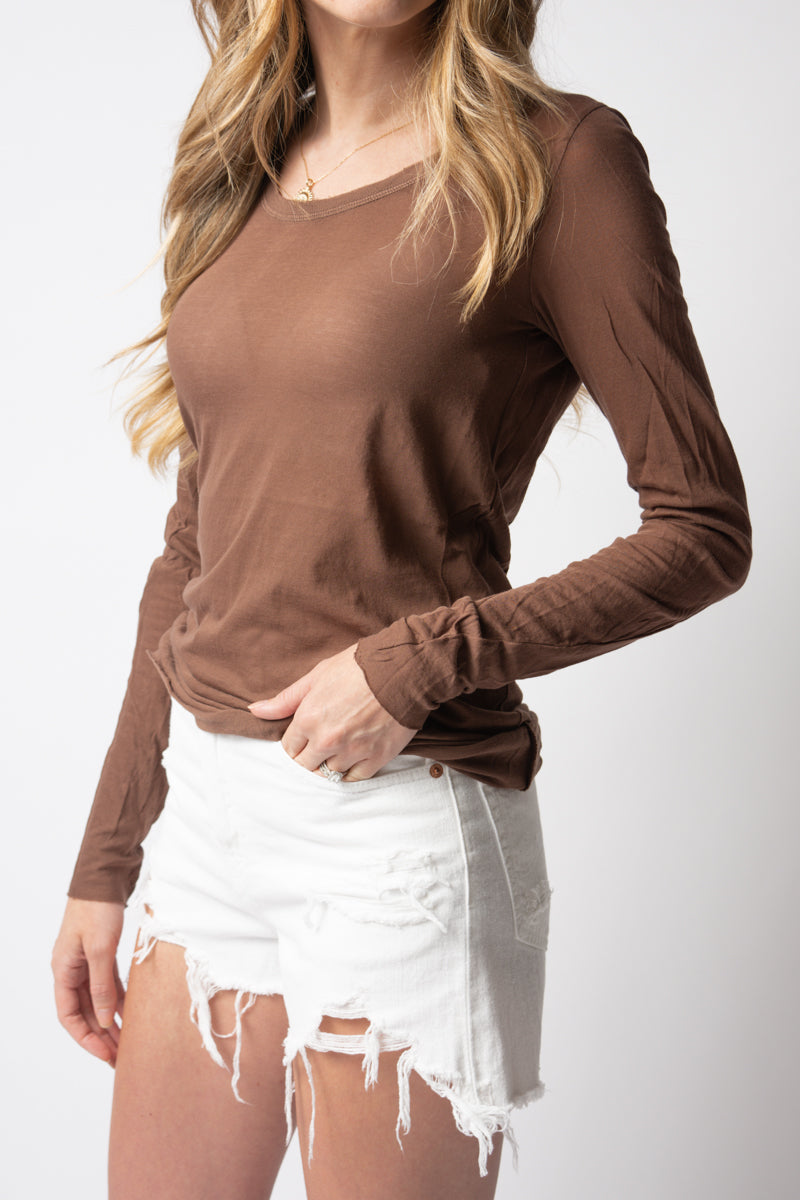 Long Sleeve Ultra Fine Cotton Tee in Cocoa