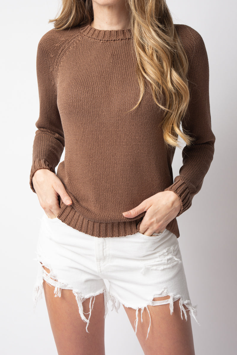 Silk Crewneck Sweater in Cocoa