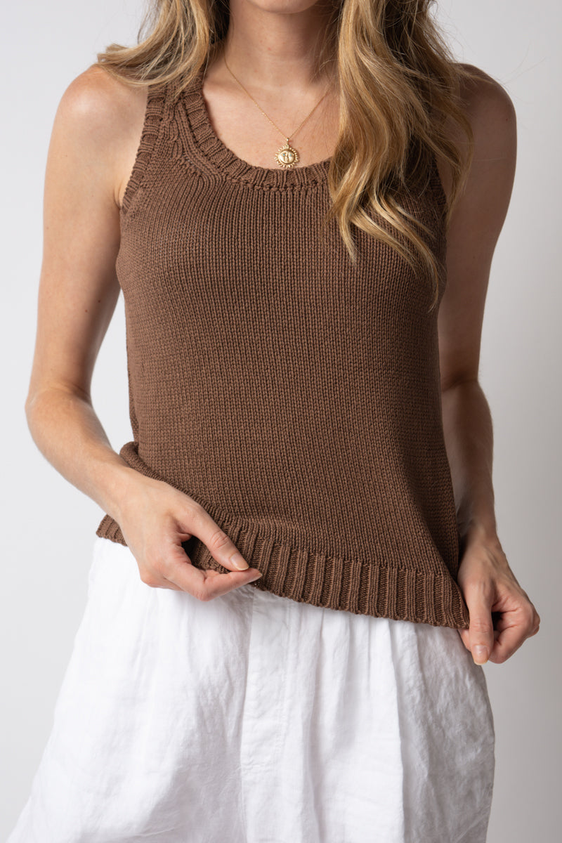 Silk Knit Tank Top in Cocoa