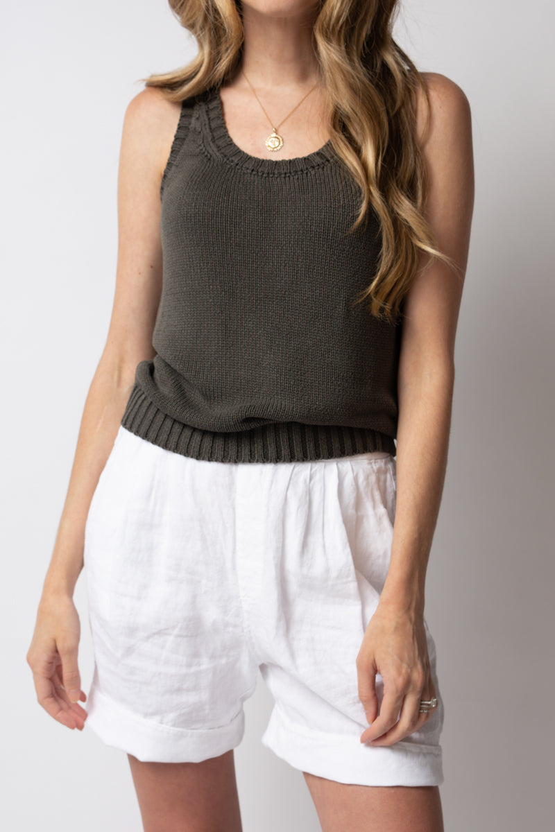 Silk Knit Tank Top in Old Steel