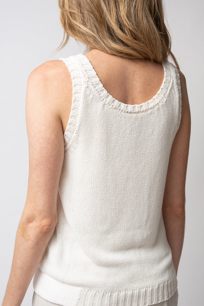 Silk Knit Tank Top in White
