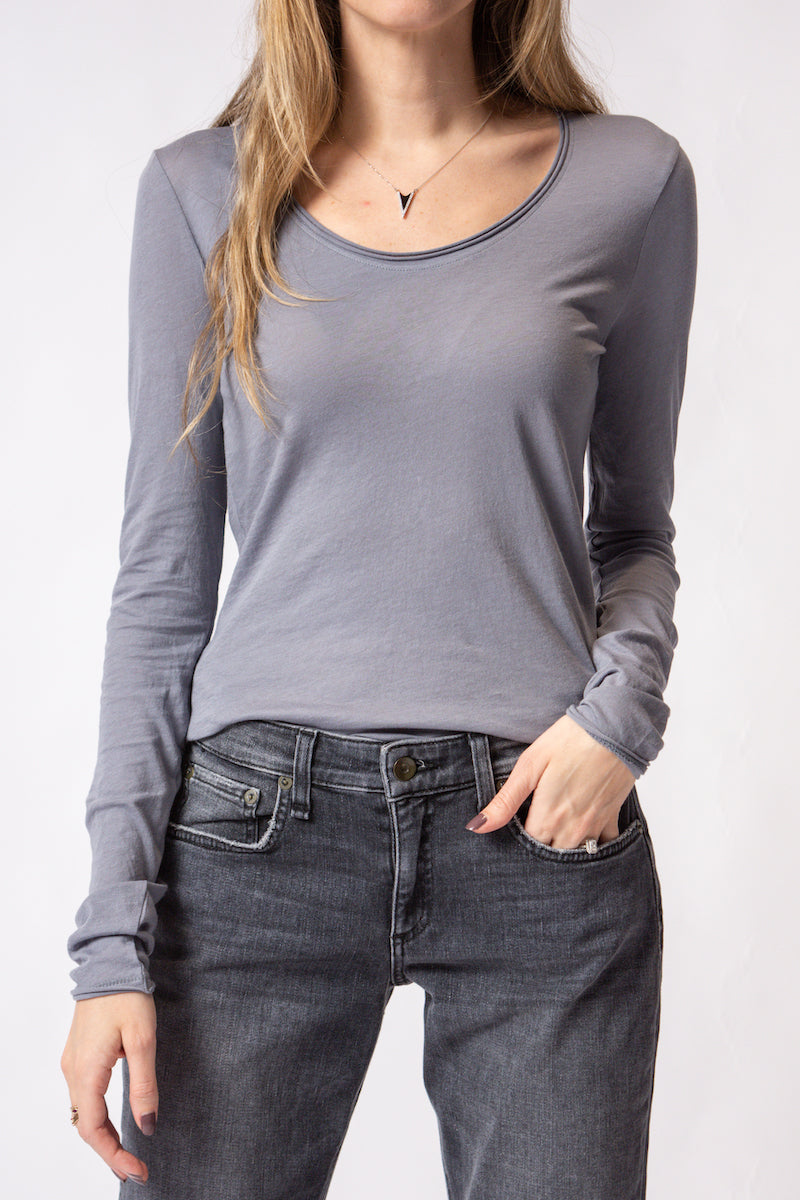 Gaia Long Sleeve Jersey in Piermount Gray