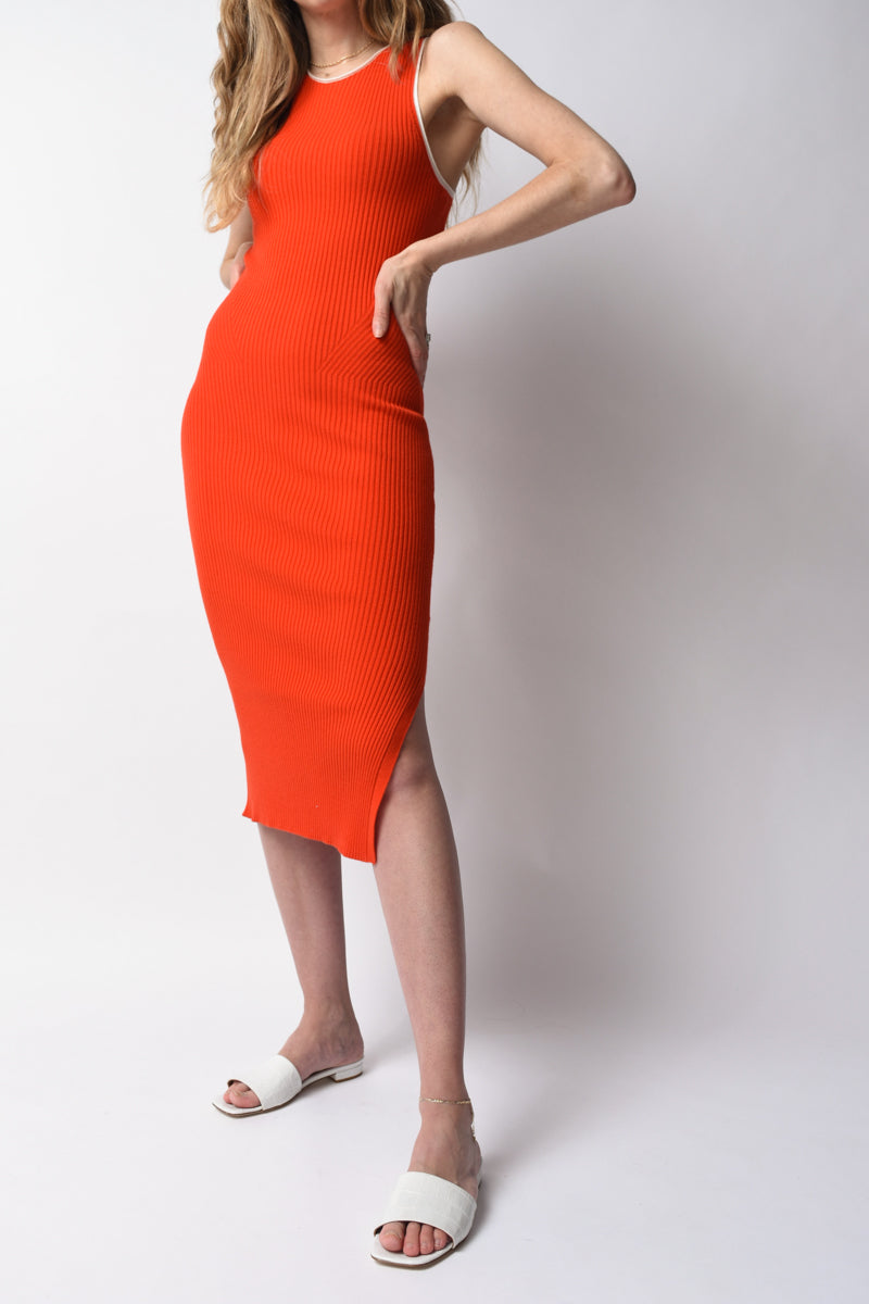 Kishi Seamless Tank Dress in Orange Flame