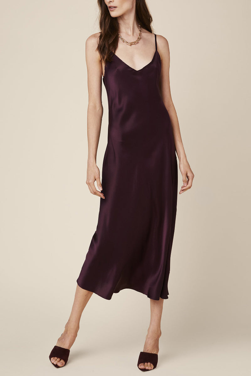 Taylor Silk Slip Dress in Bordeaux