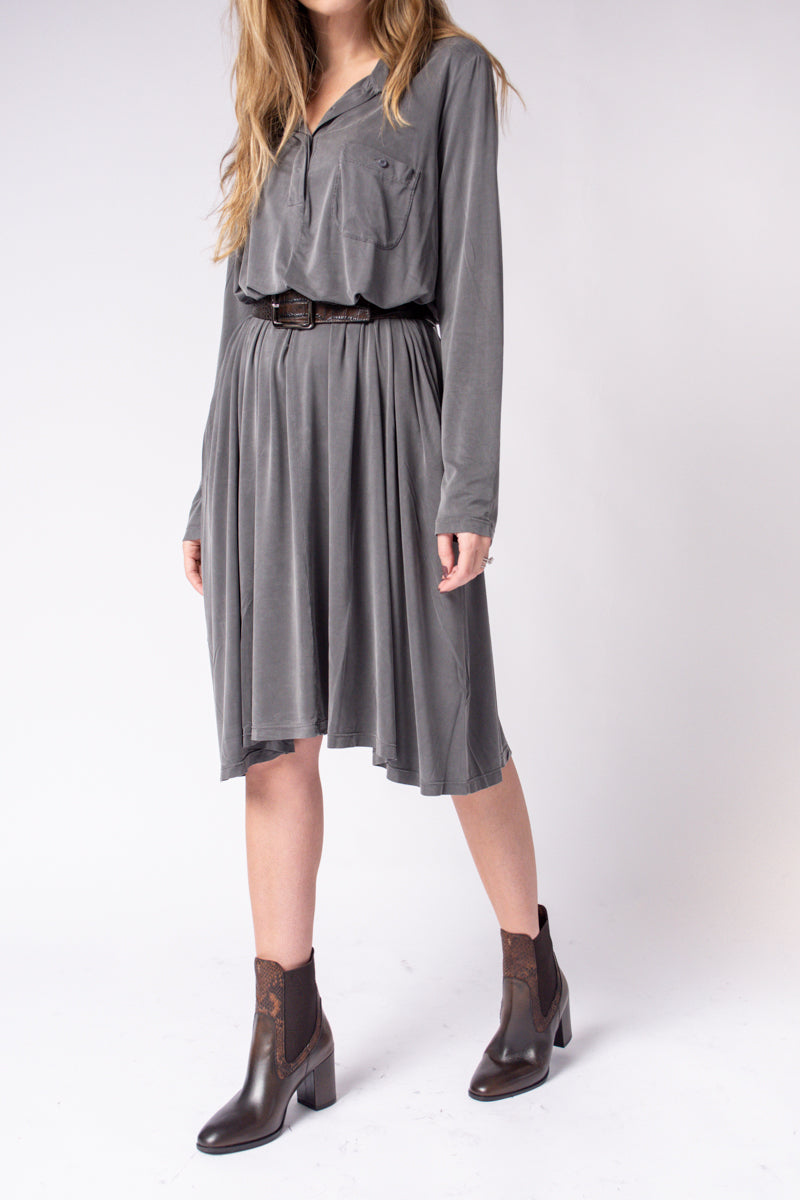 Cupro Dress in Anthracite Grey
