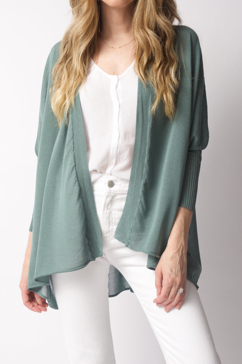 Open 3/4 Sleeve Cardigan in Mint