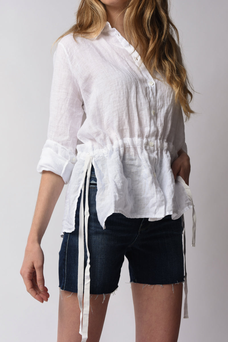 Linen Shirt in Optical White with Tie Waist