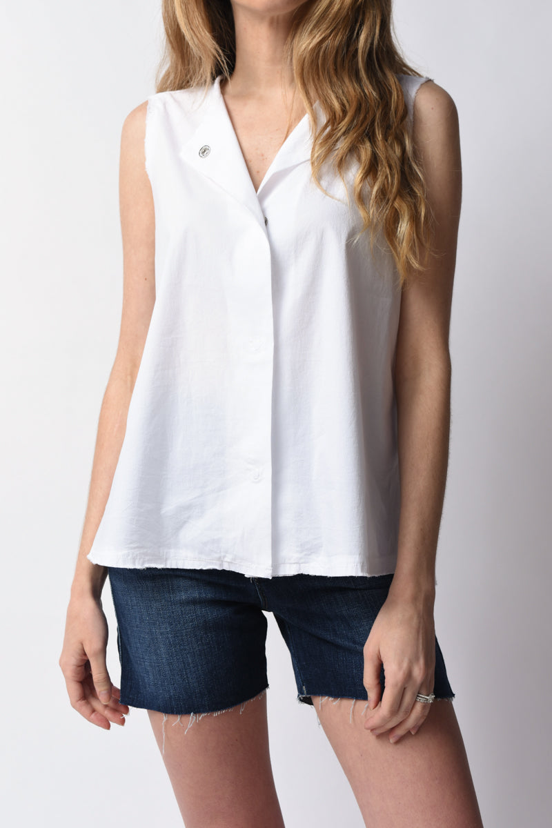 Cotton Sleeveless Shirt in Optical White