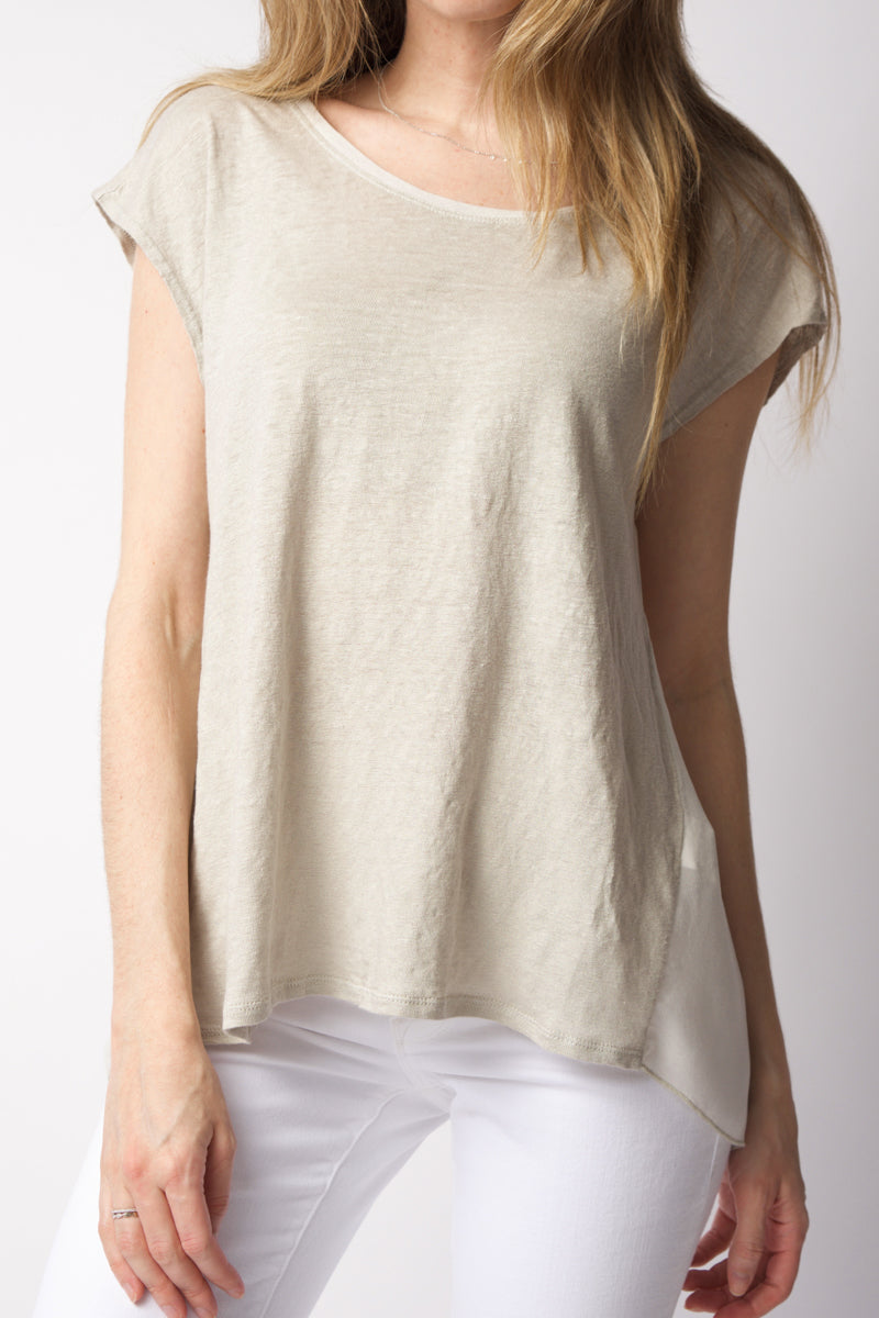 Linen T-Shirt Top in Quinoa