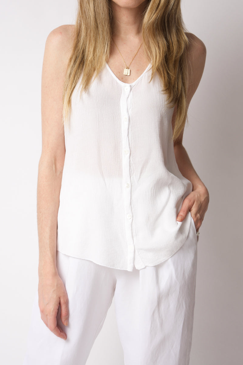 Sleeveless Cotton Top in Optical White