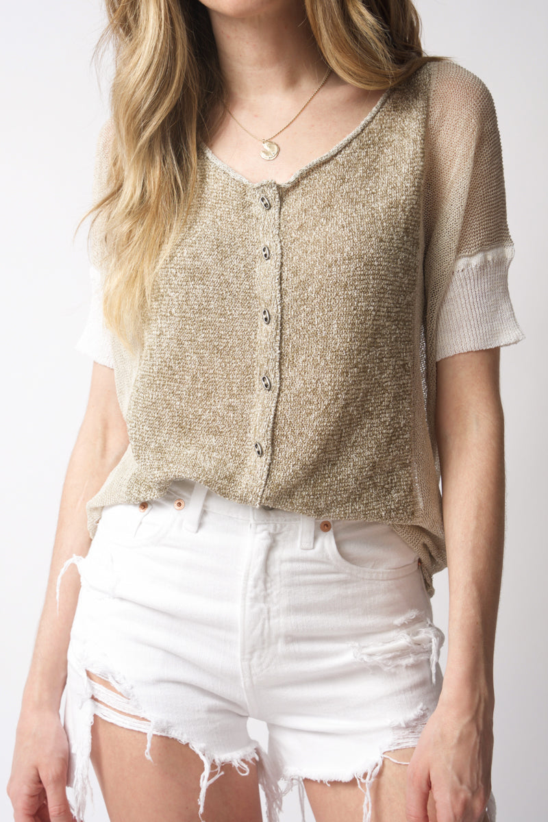 Linen Cotton Knit Top in Khaki