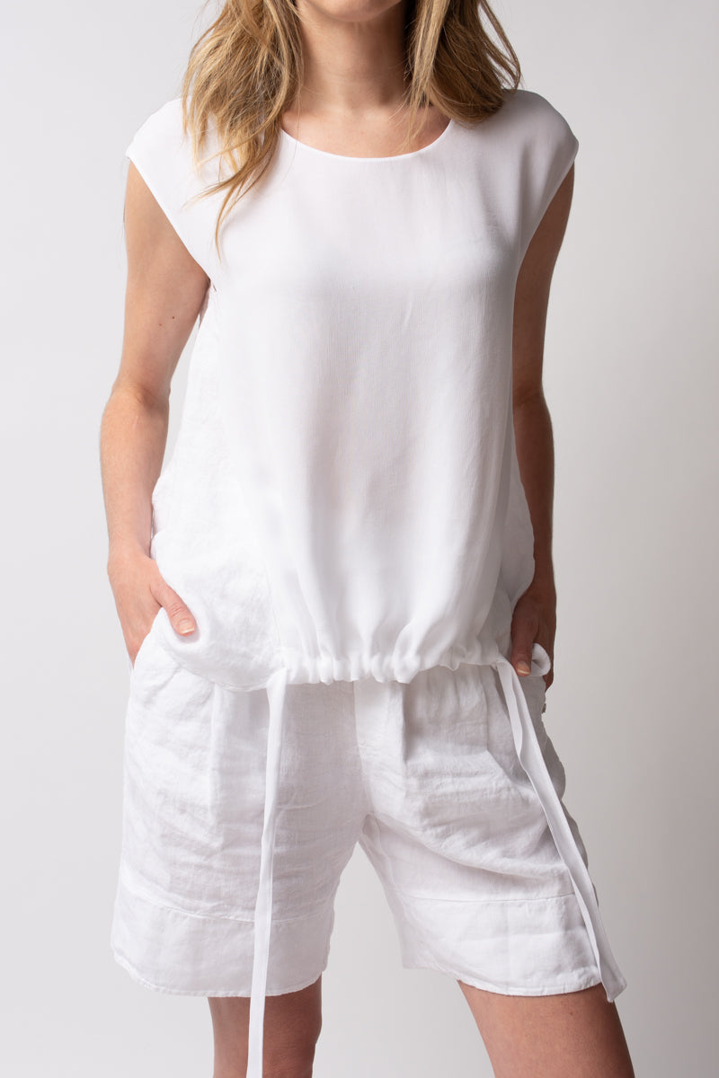 Linen Viscose Tank Top in White