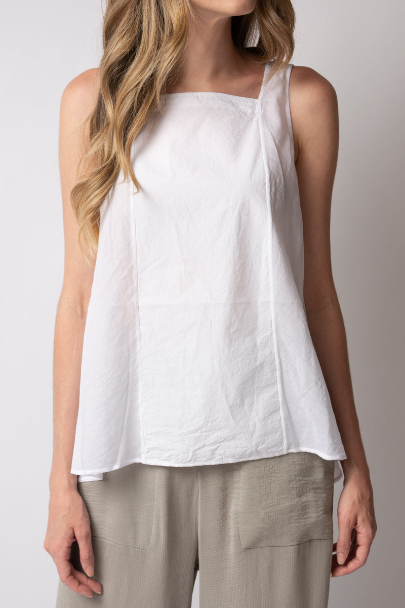 Button Back Tank in White
