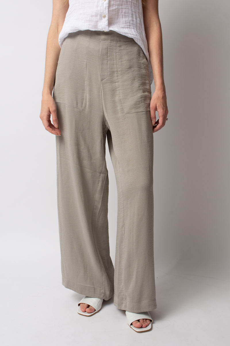 Wide Leg Trouser Pants in Stone