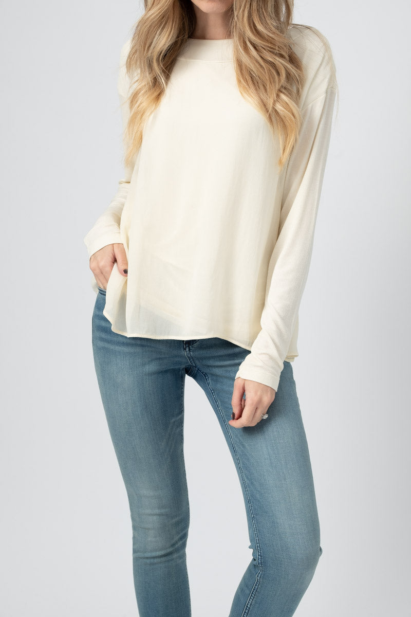 Layered Long Sleeve Top in Cream