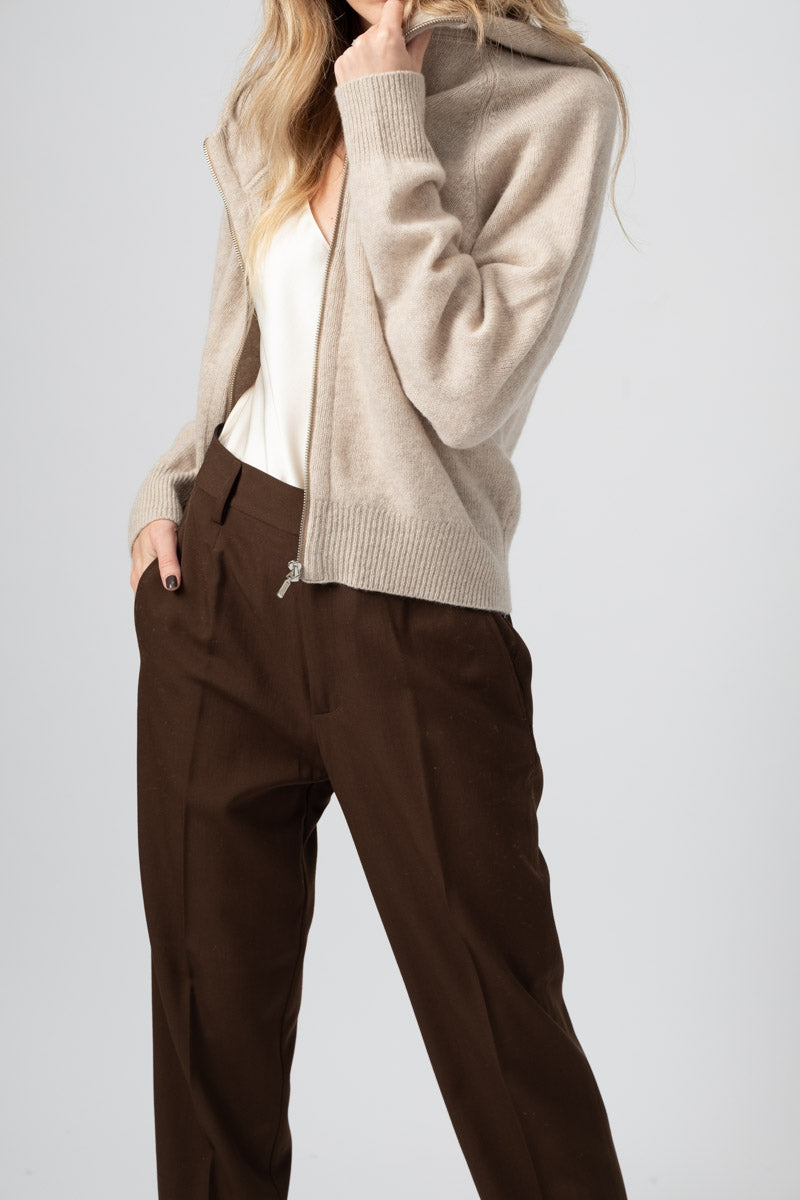 Wool Cashmere Zip Up Jacket in Sand