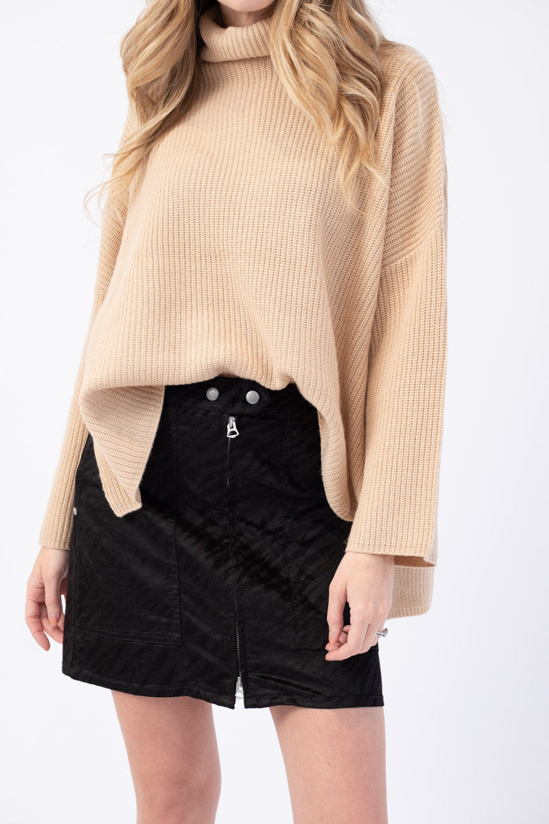 Caterina Turtleneck Sweater with Oversized Dropped Sleeves in Camel