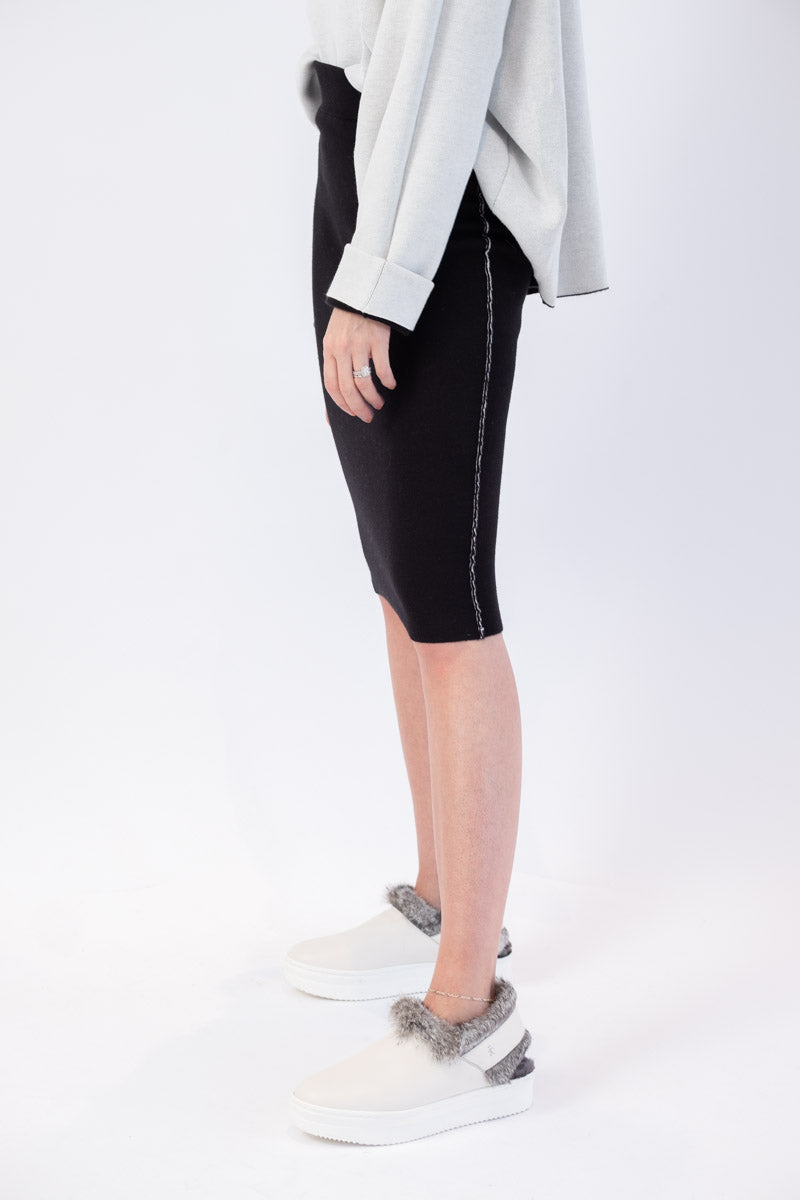 Pull-On Skirt with Side Stripe in Black and Chalk Combo