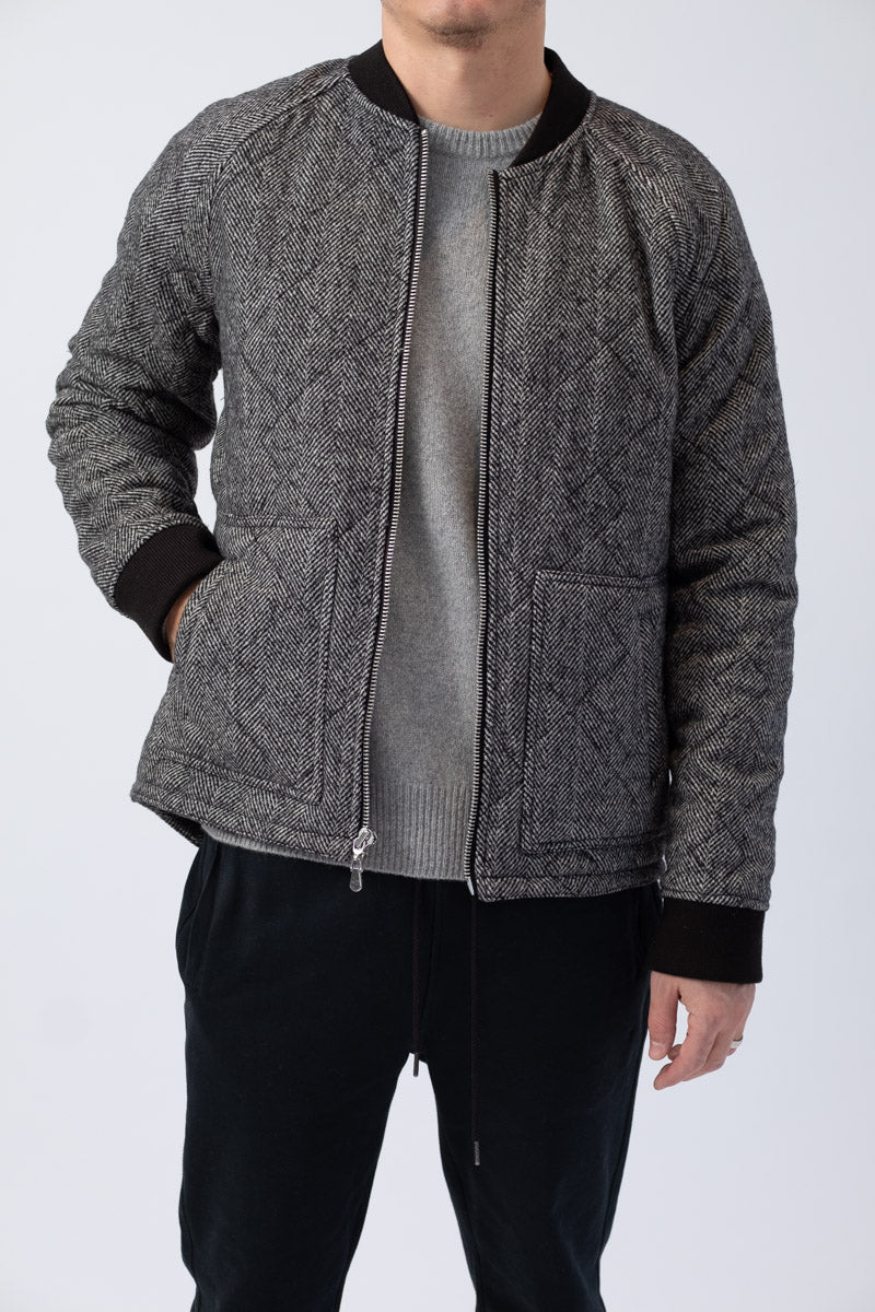 Herringbone Bomber in Noir Multi