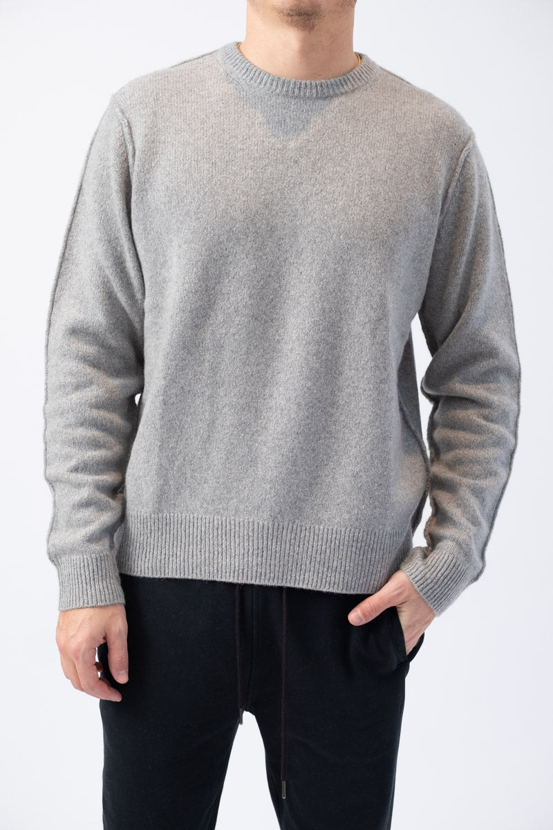 Seamed Cashmere Crew in Grey