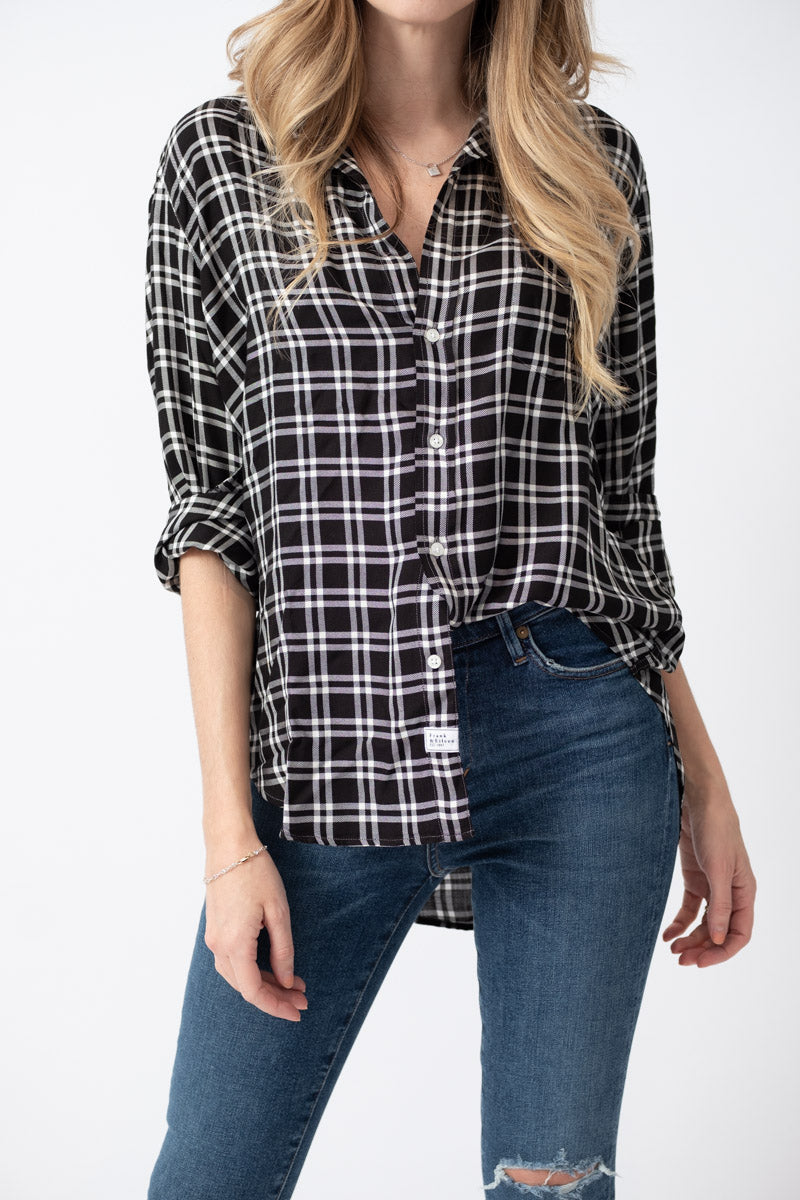 Long Sleeve Button Down Shirt in Black and White Plaid