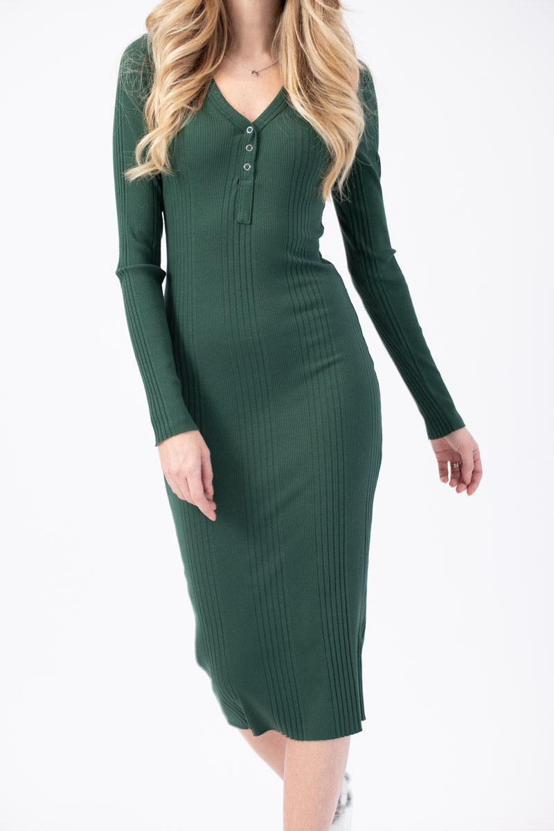 Sarah Henley Long Sleeve Dress in Pitch Green