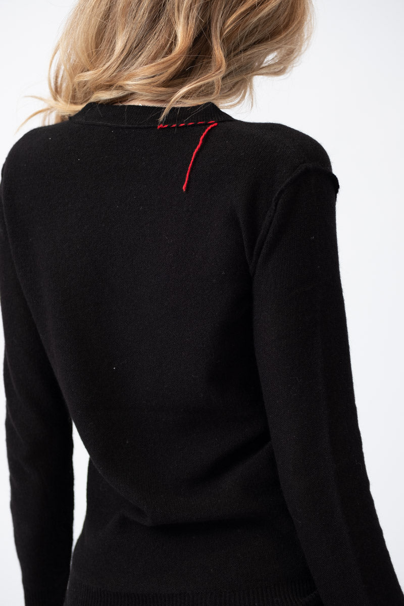 Iris V-Neck Cashmere Sweater in Black