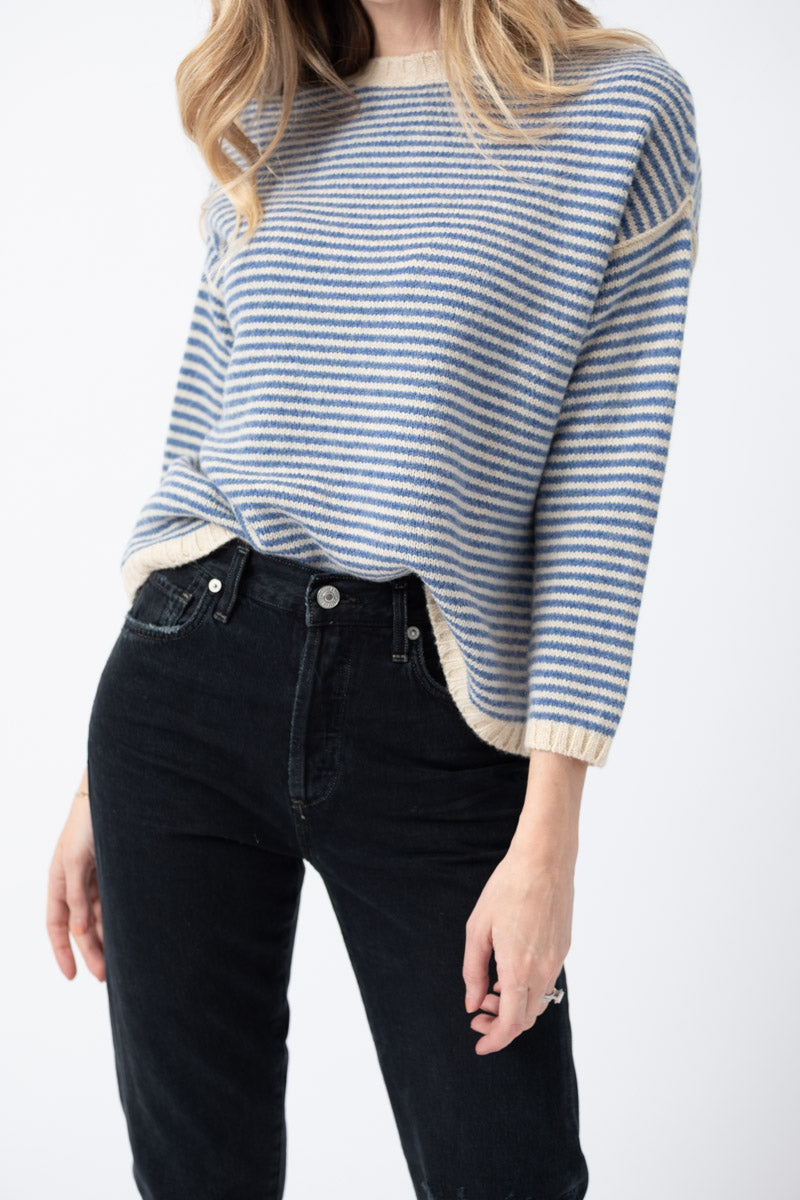 Boxy Crewneck Sweater in Blue Stripe