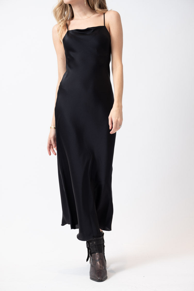 Long Woven Slip Dress in Dark Black Navy