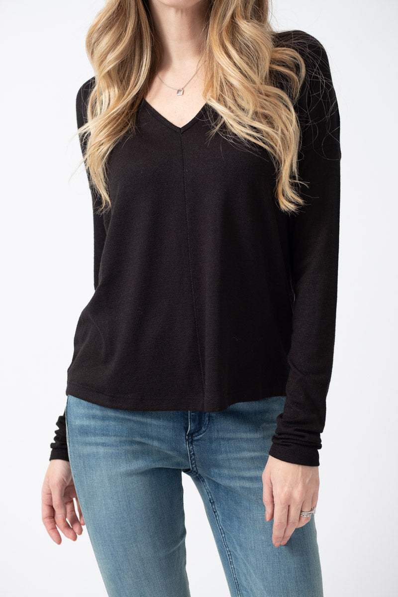 The Knit Long Sleeve Vee in Black