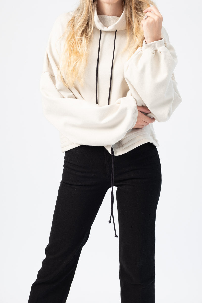 Contra Terry Cinched Bubble Sleeve Sweatshirt in Limestone