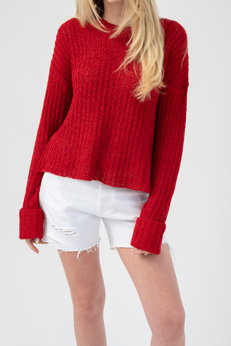 Castaway Knit Netted Sweater in Sunburn